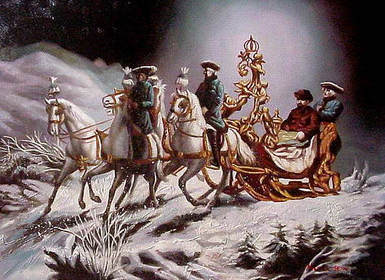 Ludwig on one of his many 'escapist' sleighrides
